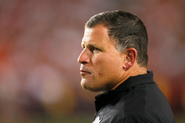LANDOVER, MD - AUGUST 29: Head coach Greg Schiano of the Tampa Bay Buccaneers looks on from the sidelines against the Washington Redskins at FedExField on August 29, 2012 in Landover, Maryland. (Photo by Rob Carr/Getty Images)
