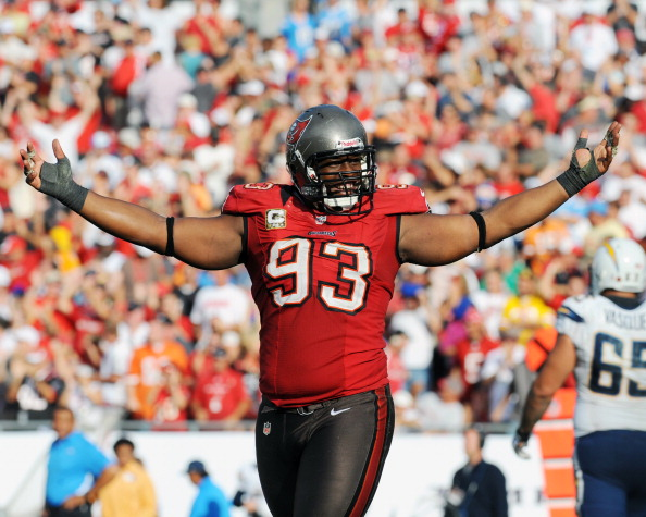 TAMPA, FL - NOVEMBER 11: Defensive tackle Gerald McCoy #93 of the Tampa Bay Buccaneers celebrates a 34 - 24 victory against the San Diego Chargers November 11, 2012 at Raymond James Stadium in Tampa, Florida. Tampa won 34 - 24. (Photo by Al Messerschmidt/Getty Images)