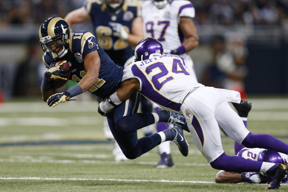 ST. LOUIS, MO - DECEMBER 16: A.J. Jefferson #24 of the Minnesota Vikings tackles Brandon Gibson #11 of the St. Louis Rams during the game at Edward Jones Dome on December 16, 2012 in St. Louis, Missouri. The Vikings won 36-22. (Photo by Joe Robbins/Getty Images)
