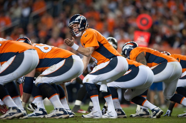 DENVER, CO - DECEMBER 2: Quarterback Peyton Manning #18 of the Denver Broncos adjusts the play at the line of scrimmage during a game against the Tampa Bay Buccaneers at Sports Authority Field Field at Mile High on December 2, 2012 in Denver, Colorado. (Photo by Dustin Bradford/Getty Images)