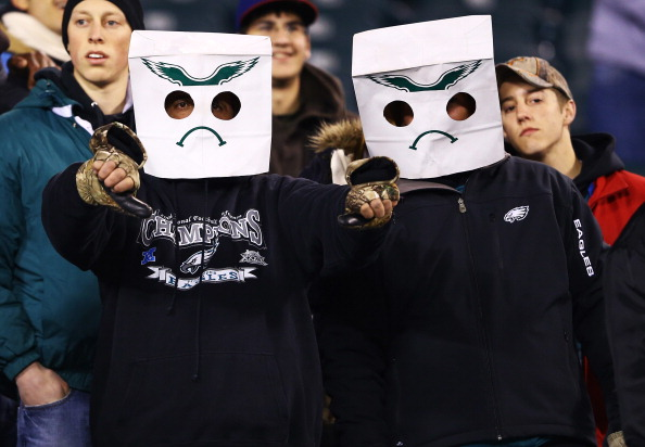 PHILADELPHIA, PA - NOVEMBER 26: Philadelphia Eagles fans show their displeasure after losing to the Carolina Panthers 30-22 loss at Lincoln Financial Field on November 26, 2012 in Philadelphia, Pennsylvania. (Photo by Al Bello/Getty Images)