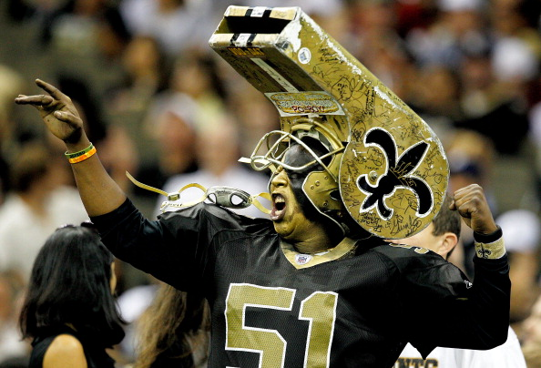 NEW ORLEANS, LA - SEPTEMBER 01: A New Orleans Saints fan cheers during their pre season game against the Tennessee Titans dthe New Orleans Saints at the Louisiana Superdome on September 1, 2011 in New Orleans, Louisiana (Photo by Sean Gardner/ Getty Images)