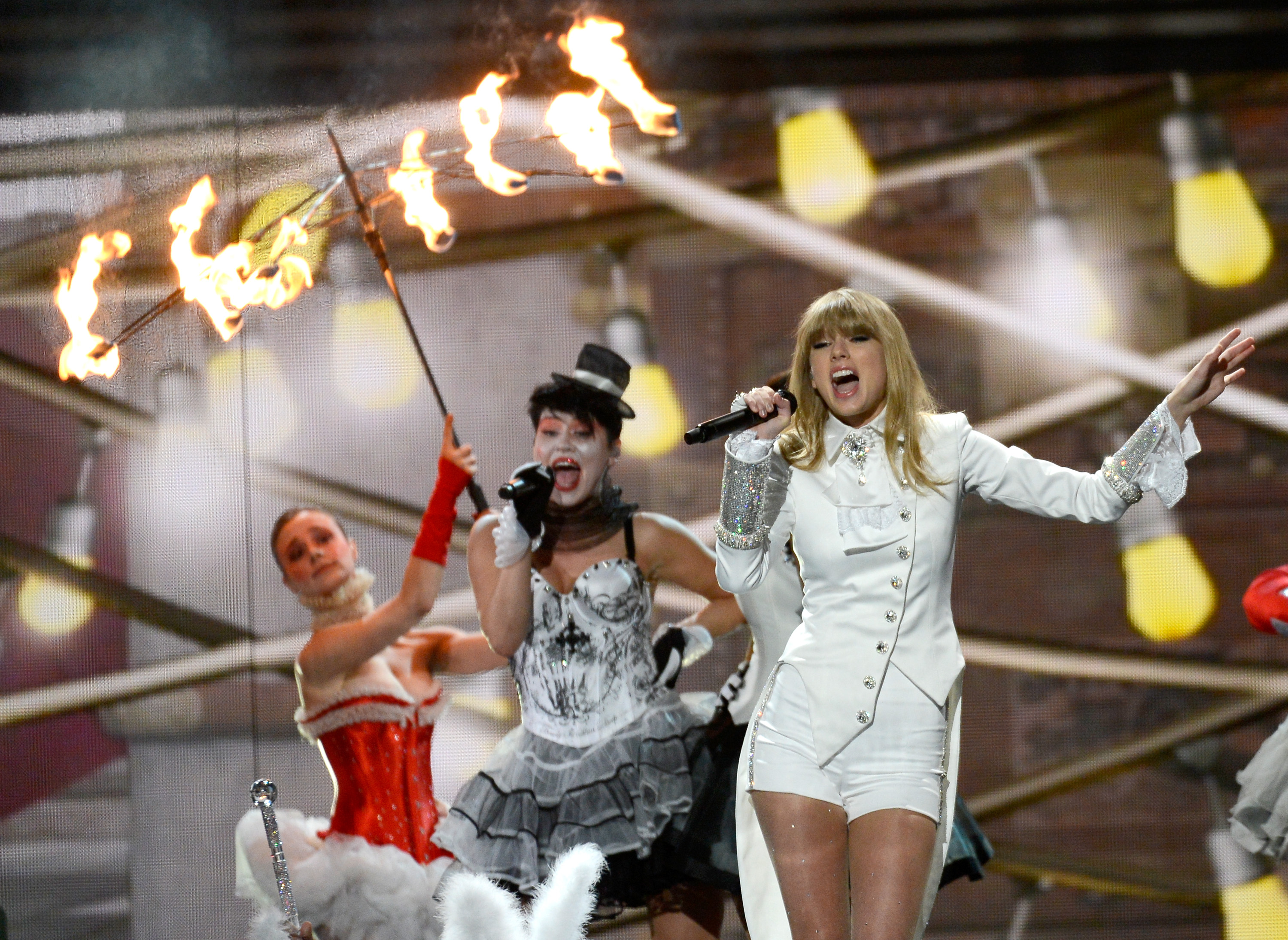 Taylor Swift performing at the 55th GRAMMYs