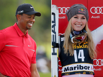 Tiger Woods (Photo by Mike Ehrmann/Getty Images), Lindsey Vonn (Photo by Stanko Gruden/Agence Zoom/Getty Images)