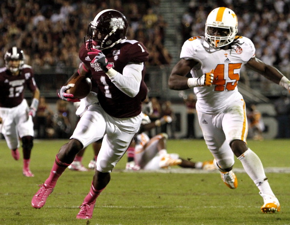 STARKVILLE, MS - OCTOBER 13:  wide receiver Chad Bumphis #1 of the Mississippi State Bulldogs catches a pass and picks up a first down over linebacker A.J. Johnson #45 of the Tennessee Volunteers on October 13, 2012 at Davis Wade Stadium in Starkville, Mississippi. (Photo byChristian Petersen/Getty Images)