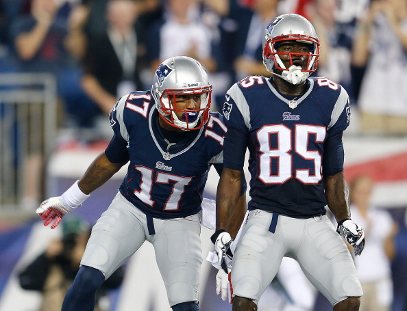 FOXBORO, MA - SEPTEMBER 12:  Aaron Dobson #17 of the New England Patriots celebrates his touchdown with Kenbrell Thompkins #85 of the New England Patriots in the first quarter against the New York Jets at Gillette Stadium on September 12, 2013 in Foxboro, Massachusetts. (Photo by Jim Rogash/Getty Images)