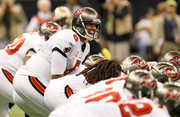 NEW ORLEANS, LA - NOVEMBER 06:  Josh Freeman #5 of the Tampa Bay Buccaneers yells to his offense against the New Orleans Saints at Mercedes-Benz Superdome on November 6, 2011 in New Orleans, Louisiana.  (Photo by Kevin C. Cox/Getty Images)