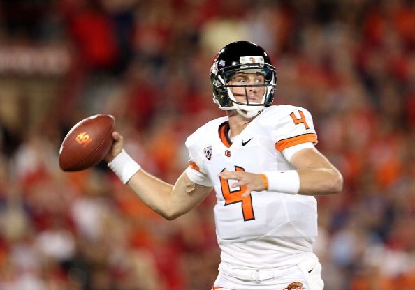 TUCSON, AZ - SEPTEMBER 29:  Quarterback Sean Mannion #4 of the Oregon State Beavers throws a pass during the college football game against the Arizona Wildcats at Arizona Stadium on September 29, 2012 in Tucson, Arizona. The Beavers defeated the Wildcats 38-35.  (Photo by Christian Petersen/Getty Images)