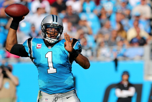 CHARLOTTE, NC - OCTOBER 20:  Cam Newton #1 of the Carolina Panthers drops back to pass during their game against the St. Louis Rams at Bank of America Stadium on October 20, 2013 in Charlotte, North Carolina.  (Photo by Streeter Lecka/Getty Images)