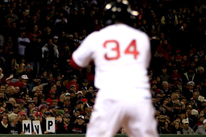 BOSTON, MA - OCTOBER 30: Fans hold up a sign in support of David Ortiz #34 of the Boston Red Sox during Game Six of the 2013 World Series against the St. Louis Cardinals at Fenway Park on October 30, 2013 in Boston, Massachusetts.