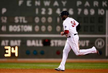 BOSTON, MA - OCTOBER 24:  David Ortiz #34 of the Boston Red Sox rounds the bases after hitting a two run home run in the sixth inning against the St. Louis Cardinals during Game Two of the 2013 World Series at Fenway Park on October 24, 2013 in Boston, Massachusetts.