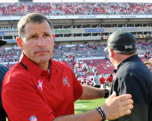 TAMPA, FL - OCTOBER 13: Coach Greg Schiano of the Tampa Bay Buccaneers leaves the field for play against the Philadelphia Eagles October 13, 2013 at Raymond James Stadium in Tampa, Florida. The Eagles won 31 - 20. (Photo by Al Messerschmidt/Getty Images)