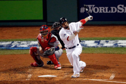 BOSTON, MA - OCTOBER 30: Shane Victorino #18 of the Boston Red Sox hits a three run double in the third inning against the St. Louis Cardinals during Game Six of the 2013 World Series at Fenway Park on October 30, 2013 in Boston, Massachusetts.