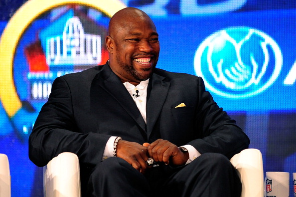 NEW ORLEANS, LA - FEBRUARY 02:  Former NFL player Warren Sapp enjoys a light moment after being elected into the Pro Football Hall of Fame during the Pro Football Hall of Fame Press Conference at the New Orleans Convention Center on February 2, 2013 in New Orleans, Louisiana.  (Photo by Stacy Revere/Getty Images)