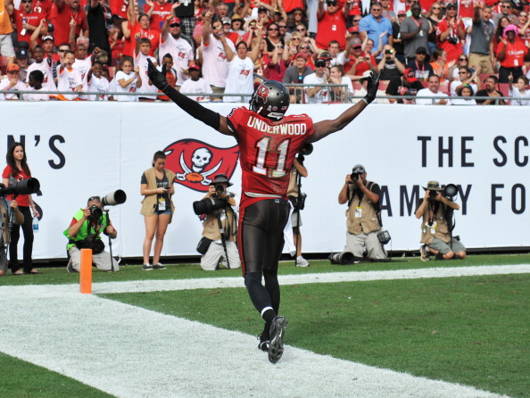 TAMPA, FL - NOVEMBER 17: Wide receiver Tiquan Underwood #11 of the Tampa Bay Buccaneers celebrates after a catch against the Atlanta Falcons November 17, 2013 at Raymond James Stadium in Tampa, Florida. The Bucs won 41 - 28. (Photo by Al Messerschmidt/Getty Images)