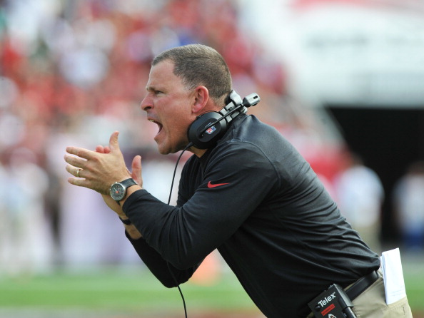 TAMPA, FL -  NOVEMBER 17:  Coach Greg Schiano of the Tampa Bay Buccaneers yells after a 1st half touchdown against the Atlanta Falcons  November 17, 2013 at Raymond James Stadium in Tampa, Florida. (Photo by Al Messerschmidt/Getty Images)