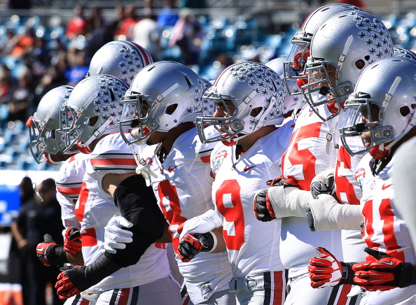 ACKSONVILLE, FL - JANUARY 02:  Members of the Ohio State Buckeyes take the field during warmups at the TaxSlayer.com Gator Bowl against the Florida Gators at EverBank Field on January 2, 2012 in Jacksonville, Florida.  (Photo by Scott Halleran/Getty Images)