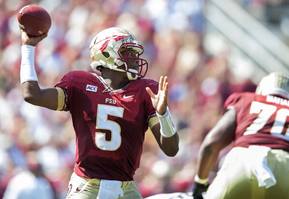 TALLAHASSEE, FL - OCTOBER 5: Jameis Winston #5 of the  Florida State Seminoles winds up for a pass against the Maryland Terrapins during the first half on October 5, 2013 at Doak Campbell Stadium in Tallahassee, Florida. The Seminoles went to beat the Terrapins 63-0. (Photo by Jeff Gammons/Getty Images)
