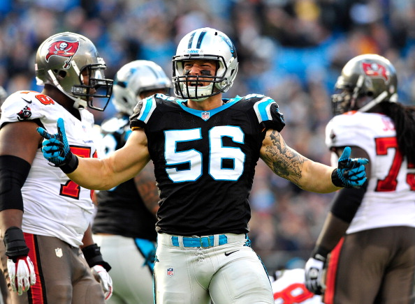 CHARLOTTE, NC - DECEMBER 01:  A.J. Klein #56 of the Carolina Panthers reacts after sacking quarterback Mike Glennin #8 of the Tampa Bay Buccaneers during play at Bank of America Stadium on December 1, 2013 in Charlotte, North Carolina. The Panthers won 27-6.  (Photo by Grant Halverson/Getty Images)