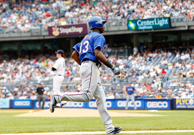 NEW YORK, NY - JUNE 27:  Jurickson Profar #13 of the Texas Rangers runs the bases after his fifth inning home run against Phil Hughes #65 of the New York Yankees at Yankee Stadium on June 27, 2013  in the Bronx borough of New York City.