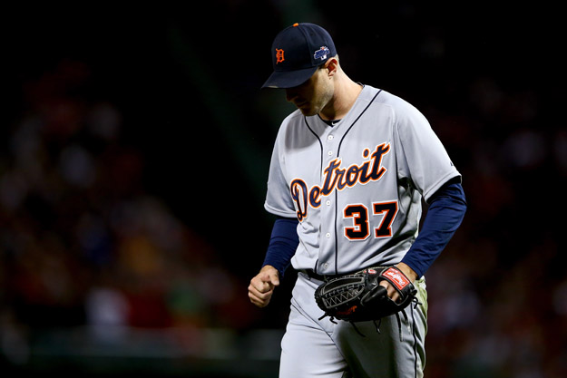 BOSTON, MA - OCTOBER 19:  Max Scherzer #37 of the Detroit Tigers reacts against the Boston Red Sox during Game Six of the American League Championship Series at Fenway Park on October 19, 2013 in Boston, Massachusetts.