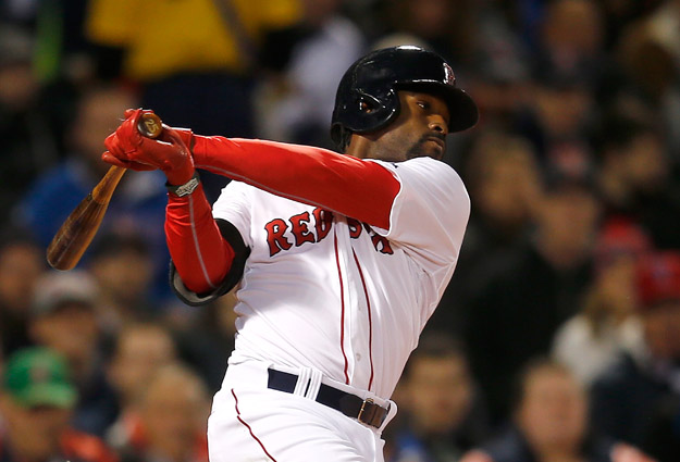 BOSTON, MA - APRIL 7:  Jackie Bradley Jr. #25 of the Boston Red Sox knocks in a run in the second inning against  the Texas Rangers at Fenway Park on April 7, 2014 in Boston, Massachusetts.