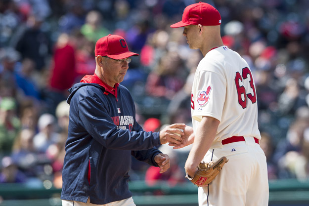 CLEVELAND, OH - APRIL 6: Manager Terry Francona #17 removes starting pitcher Justin Masterson #63 of the Cleveland Indians from the game during the fourth inning at Progressive Field on April 6, 2014 in Cleveland, Ohio.