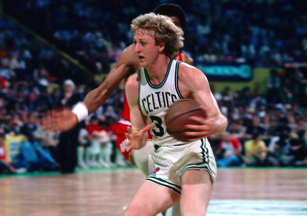 BOSTON - 1981:  Larry Bird #33 of the Boston Celtics drives to the baket against the Houston Rockets during the 1991 NBA Finals at the Boston Garden in Boston, Massachusetts. The Boston Celtics defeated the Houston Rockets 4-2 and won the 1981 NBA Championship.