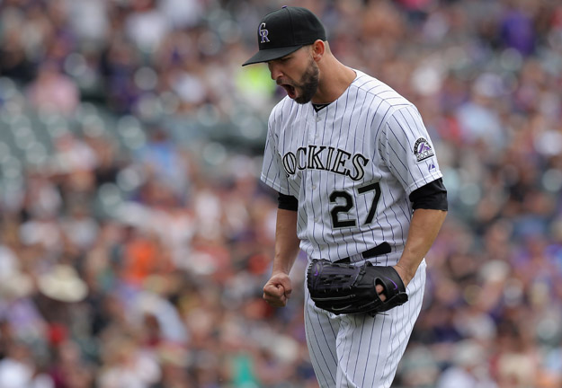 DENVER, CO - APRIL 23:  Starting pitcher Tyler Chatwood #27 of the Colorado Rockies reacts as they end the fifth inning against the San Francisco Giants at Coors Field on April 23, 2014 in Denver, Colorado. The Giants defeated the Rockies 12-10 in 11 innings.