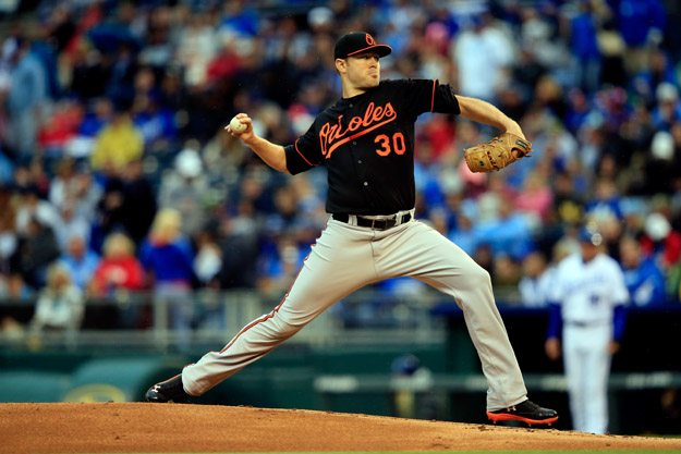 KANSAS CITY, MO - MAY 16:  Chris Tillman #30 of the Baltimore Orioles in action during the 1st inning of the game against the Kansas City Royals at Kauffman Stadium on May 16, 2014 in Kansas City, Missouri.