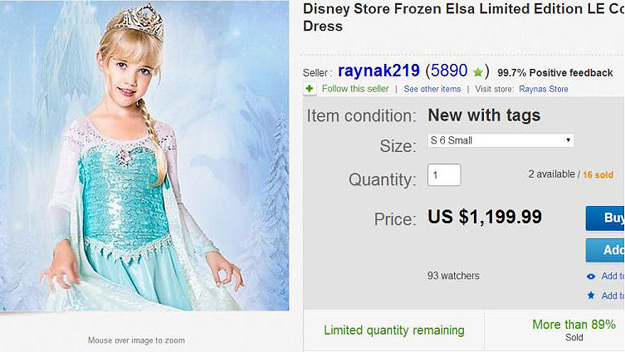 "Limited Edition ""Frozen"" Dress (Photo Credit: eBay)"