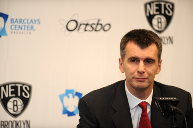 NEW YORK, NY - NOVEMBER 3: Owner Mikhail Prokhorov of the Brooklyn Nets speaks to the media prior to the first ever regular home season game against the Toronto Raptors at the Barclays Center on November 3, 2012 in the Brooklyn borough of New York City.