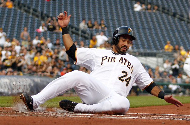 PITTSBURGH, PA - MAY 21:  Pedro Alvarez #24 of the Pittsburgh Pirates scores on a two-RBI triple in the first inning against the Baltimore Orioles during interleague play at PNC Park May 21, 2014 in Pittsburgh, Pennsylvania.
