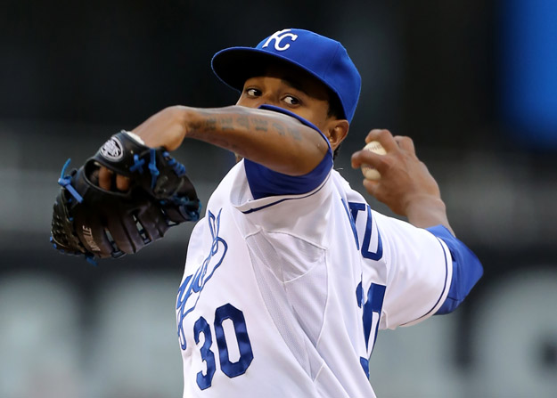 KANSAS CITY, MO - APRIL 30:  Yordano Ventura #30 of the Kansas City Royals warms up in the first inning against the Toronto Blue Jays at Kauffman Stadium on April 30, 2014 in Kansas City, Missouri.
