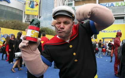 File photo of an actor posing as the cartoon character 'Popeye'. (Photo by Valerie Macon/Getty Images)