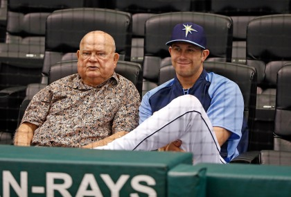Senior advisor Don Zimmer of the Tampa Bay Rays talks with infielder Evan Longoria during batting practice just before the start of the game against the Toronto Blue Jays at Tropicana Field on June 24, 2013 in St. Petersburg, Florida.  (Photo by J. Meric/Getty Images)