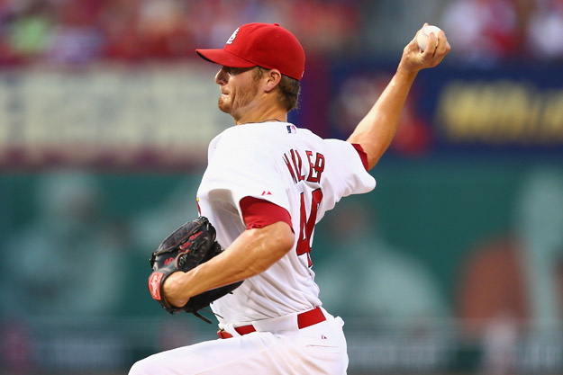ST. LOUIS, MO - JUNE 19: Starter Shelby Miller #40 of the St. Louis Cardinals pitches against the Philadelphia Phillies in the first inning at Busch Stadium on June 19, 2014 in St. Louis, Missouri.  (Photo by Dilip Vishwanat/Getty Images)