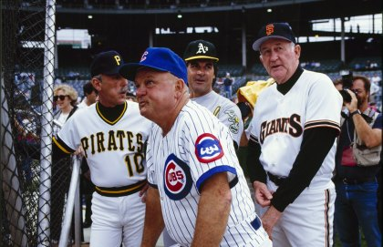 CHICAGO - JULY 1990: (L-R) Managers Jim Leyland of the Pittsburgh Pirates, Don Zimmer of the Chicago Cubs, Tony LaRussa of the Oakland Athletics and Roger Craig of the San Francisco Giants look on during batting practice prior to the1990 All-Star Game at Wrigley Field circa July 1990 in Chicago, Illinois. (Photo by Steve Goldstein/Getty Images)