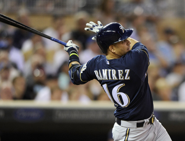 MINNEAPOLIS, MN - JUNE 4: Aramis Ramirez #16 of the Milwaukee Brewers hits a three-run home run against the Minnesota Twins during the seventh inning of the game on June 4, 2014 at Target Field in Minneapolis, Minnesota. The Twins defeated the Brewers 6-4.