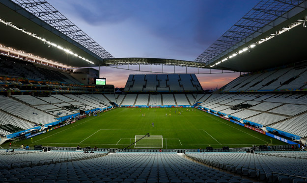 SAO PAULO, BRAZIL -  JUNE 08: General View of the Arena Corinthians Stadium during the match between Corinthians U20 v Corinthians U17 as part of the last technical test event on June 08, 2014 in Sao Paulo, Brazil. Sao Paulo will be hosting FIFA 2014 World Cup inaugural match on June 12.