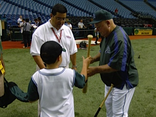 Rich Herrera and his sone meet with Don Zimmer. (photo: Rich Herrera)