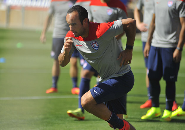 Landon Donovan of the US Men's National Team practices in Stanford, California on May 14, 2014.   In the upcoming World Cup 2014 the US is drawn in Group G, along with Ghana, who reached the quarter-finals in the 2010 edition, Euro 2012 semi-finalists Portugal, and one of the favorites for the trophy Germany. They will kick off their campaign on June 16 against Ghana.