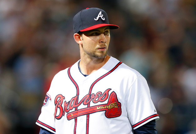 ATLANTA, GA - MAY 19:  Mike Minor #36 of the Atlanta Braves walks to the dugout after being pulled in the seventh inning against the Milwaukee Brewers at Turner Field on May 19, 2014 in Atlanta, Georgia.