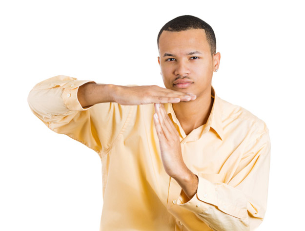 Man showing time out gesture
