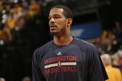 INDIANAPOLIS, IND - MAY 13: Trevor Ariza #1 of the Washington Wizards warms up before Game Five of the Eastern Conference Semi-Finals against the Indiana Pacers during the 2014 NBA Plaoffs at Bankers Life Fieldhouse on May 13, 2014 in Indianapolis, Indiana. NOTE TO USER: User expressly acknowledges and agrees that, by downloading and or using this Photograph, user is consenting to the terms and condition of the Getty Images License Agreement. Mandatory Copyright Notice: 2014 NBAE (Photo by Ron Hoskins/NBAE via Getty Images)