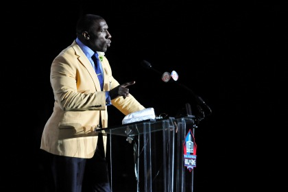 CANTON, OH - AUGUST 6:  Former Denver Broncos tight end Shannon Sharp talks to the fans after he unveiled his bust at the Enshrinement Ceremony for the Pro Football Hall of Fame on August 6, 2011 in Canton, Ohio.  (Photo by Jason Miller/Getty Images)