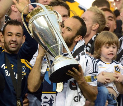 Landon Donovan #10 of Los Angeles Galaxy celebrates the 3-1 victory against the Houston Dynamo to win the 2012 MLS Cup at The Home Depot Center on December 1, 2012 in Carson, California.  (credit: Harry How/Getty Images)