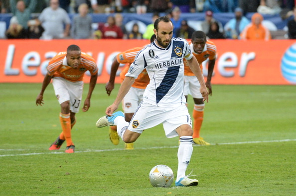Landon Donovan #10 of Los Angeles Galaxy kicks a penalty kick and scores in the second half while taking on the Houston Dynamo in the 2012 MLS Cup at The Home Depot Center on December 1, 2012 in Carson, California.  (Photo by Harry How/Getty Images)