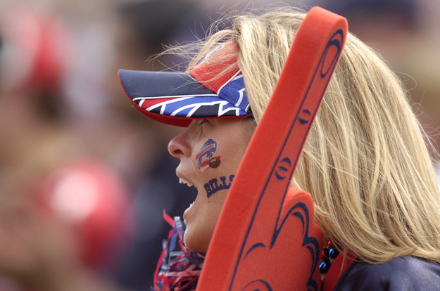 A Bills fan shouts for her team during a game between the Atlanta Falcons and Buffalo Bills at Ralph Wilson Stadium in Orchard Park, New York on September 25, 2005. Atlanta won the game 24-16.