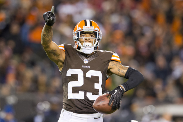 CLEVELAND, OH - NOVEMBER 3: Cornerback Joe Haden #23 of the Cleveland Browns celebrates after catching and interception during the first half against the Baltimore Ravens at FirstEnergy Stadium on November 3, 2013 in Cleveland, Ohio.